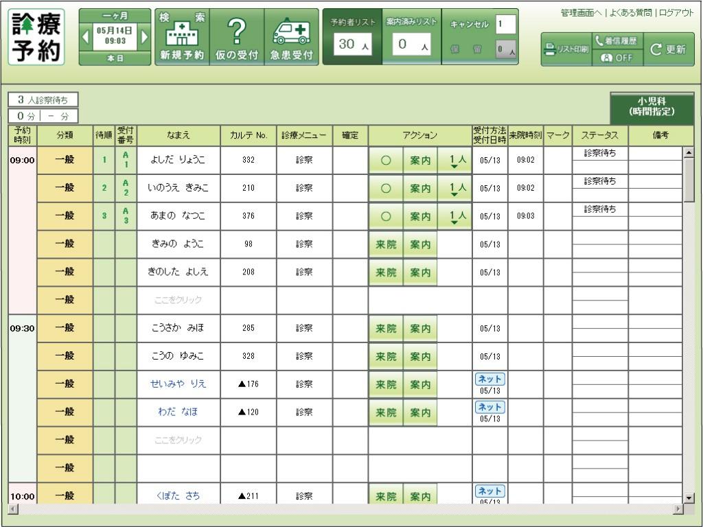 診療予約システムの画面